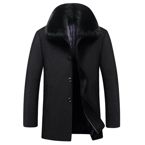 Parka Winter British Style Men's Coat with Fur Collar Fashion  Trench Wool Coat Clothing Top Quality Woolen Coat Men