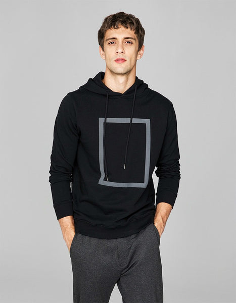 Autumn Men Hoodies 100% Cotton Print Black Gray Color For Man Casual Slim Hooded Clothing 2018 Male Wear Tops Tracksuits 1510
