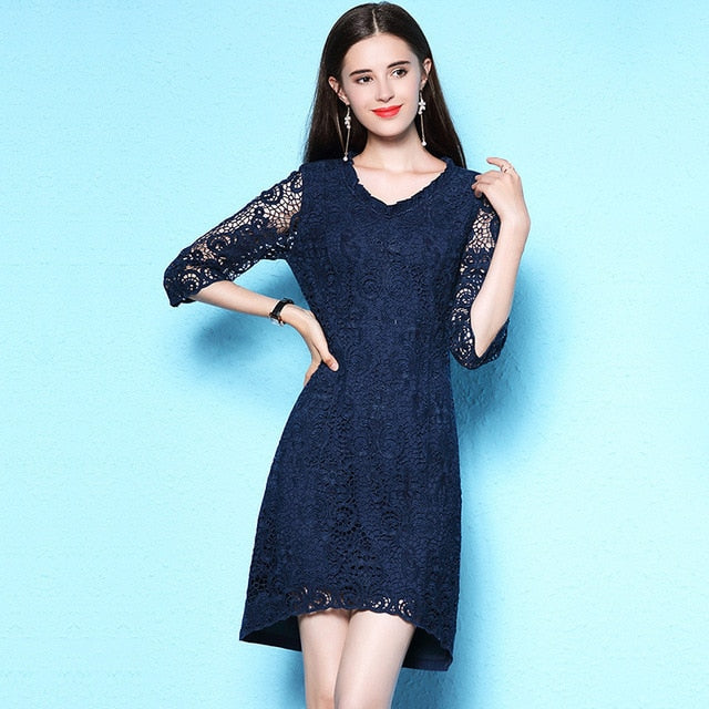 Nordic style large size women's summer dress dating party  dress lace dress summer thin denim dress