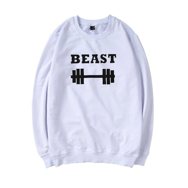 New Trend Couple Hoodies Beast Beauty Printed Funny Pullovers Sweatshirt Women Black Fashion Couple Clothes Streetwear Hoodie
