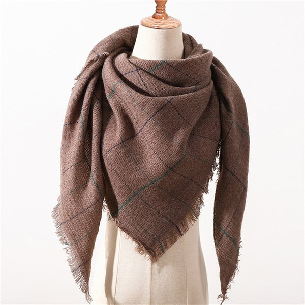 Designer brand women scarf fashion plaid winter scarves for ladies cashmere shawls wraps warm neck Triangle Bandage pashmina