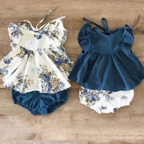 New Newborn Infant Kids Baby Girl Floral Tops Dress Shorts Pants Clothes Outfits