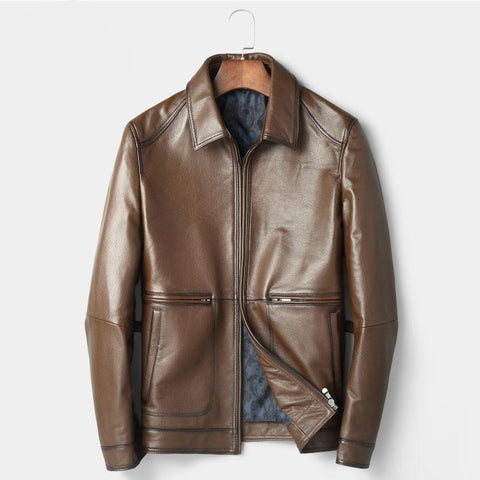 Men Genuine Leather Jackets and Coats Real Make Jacket Brown Slim Outerwear Luxury 2018 New