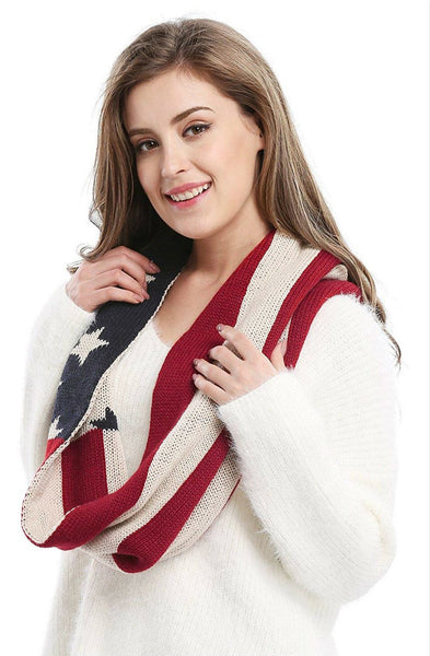 Unisex Thick Warm US American Flag Winter Knit Infinity Circle Scarf Winter Loop Scarves for Woman Man AA10076