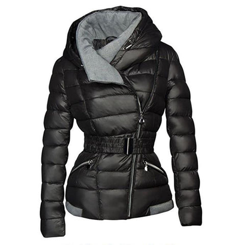 Winter Coats Women Parkas Cotton Warm Thick Short Jacket Coat with Belt Slim Casual zipper Gothic Black Outerwear Overcoats