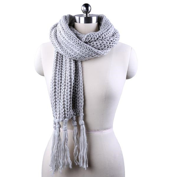 6f10fe2172508 ... Winter Scarf For Men/Women Acrylic Knitted Long Tassel Grey Thick Warm  Soft Unisex Scarf ...