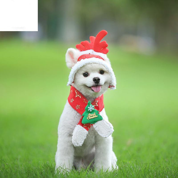 Dog Cat Caps Pet Santa Birthday Scarf Antler Christmas Hat Costume for Puppy Kitten Small  Pets Accessories
