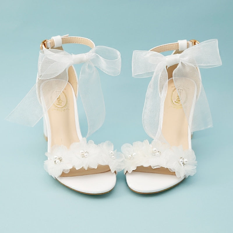 womem sandals white wedding shoes summer elegant Lace Bowknot one word wristband white flower cross with bare toe thick heel new