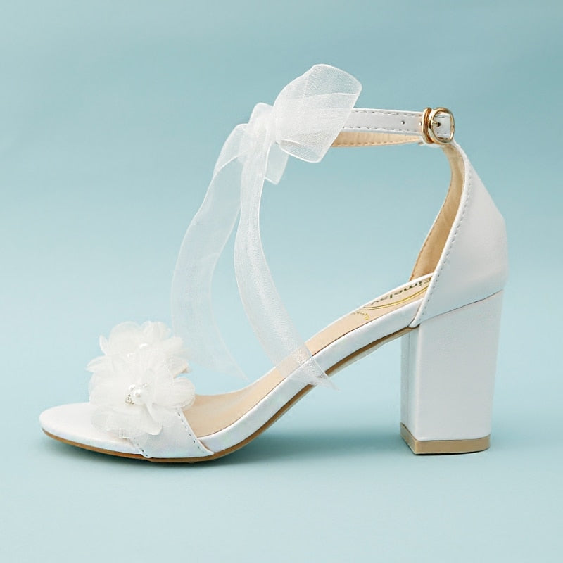 Women Sandals White Wedding Shoes Summer Elegant Lace Bowknot One Word Wristband White Flower Cross with Bare Toe Thick Heel New,Blue 7Cm Heel,43