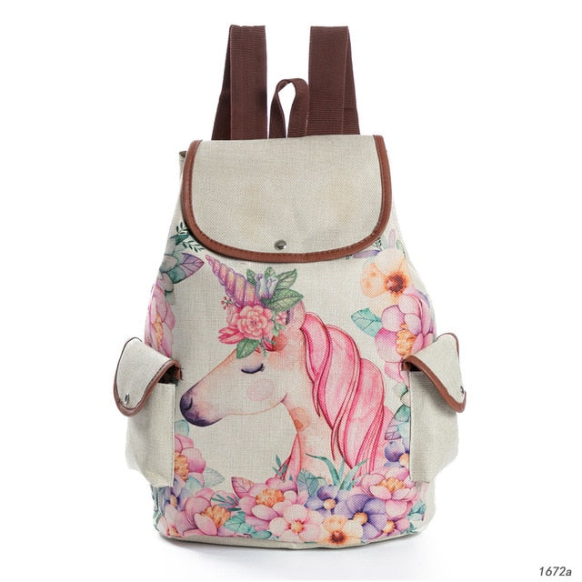 Fresh Design Cute Unicorn Printing Linen Backpacks Teenage Girls Cartoon Shoulder Schoolbags Female Fashion Travel Bag