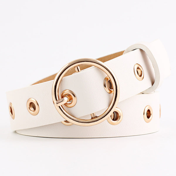 Big Metal Hole Women Belts Round Buckle Women Girls Belts Black Silver Hip-Pop Belts Soft Leather Belt Woman 2018