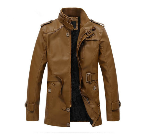 New Warm Design Leather Jacket Men With Washed Motorcycle Standing Collar Jaqueta De Couro Leather Jackets Coat