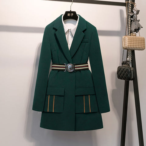 Mandarin Collar Emerald Suit Jacket for Women