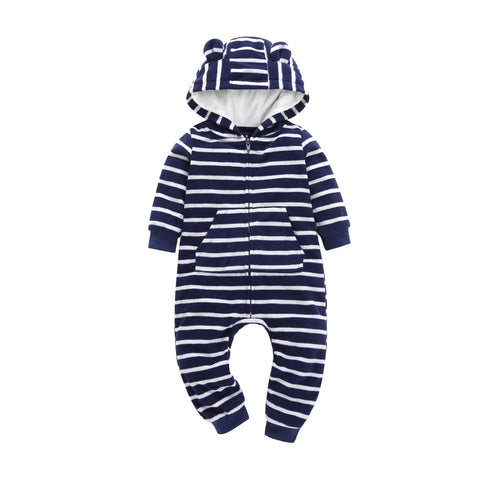 Autumn & Winter Newborn Infant Baby Clothes Fleece Jumpsuit Boys Romper Hooded stripe Bear Onesie Baby Bebe Menino Macacao