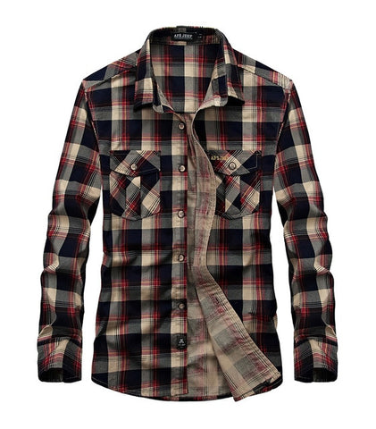 Flannel Plaid Shirt Spring Autumn Casual Long Sleeve Shirt Men 100% Cotton Camisa Masculina Plus Size 3XL