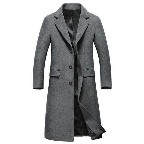 Extra Long Gray Wool Trench Coat Men New Winter Mens Slim Fit Cashmere Coat Single Breasted Male Overcoat Windbreaker