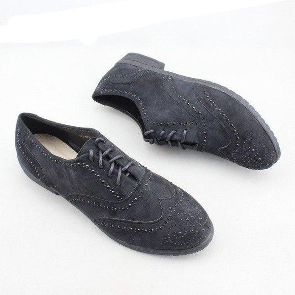 Newest Women Flats Shoes Spring Autumn Black Casual Brogue Shoes Ladies Lace-Up Comfortable Women Oxford Shoes Plus Size 41