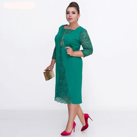 Autumn winter Women lace dress plus size Patchwork office dresses work Bodycon Elegant Party Dress Vestidos 5XL 6XL robe