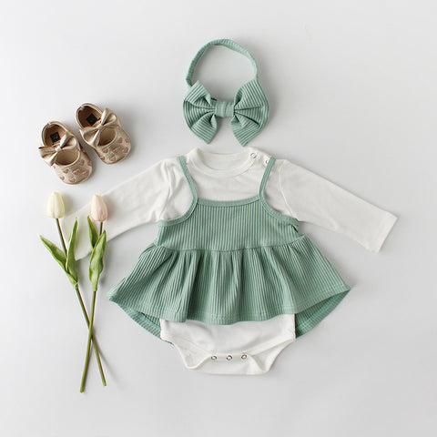Baby Girls Clothes Cotton Baby Clothing Set Bodysuit Dress and Headband 3 Pcs Baby Girls Clothes Set Baby Gift