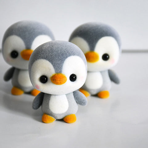 5.5CM Mini PVC Flocking Decoration Dolls Penguin 3 Colors Kawaii Doll Toy For Girls Little Exquisite Toy Christmas Gift Surprise