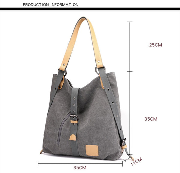 Large Capacity Women's Canvas Handbag Lady Girls Fashion Canvas Shoulder Bags Multifunctional Female Messenger Bag