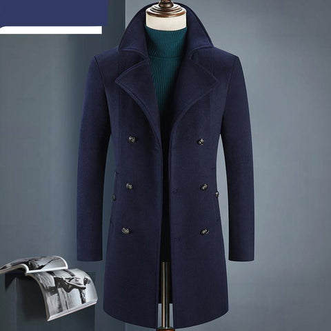 Winter double breasted Men's fashion thicken trench coat jacket Men's casual windbreaker woolen coats men overcoat