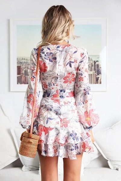 Women's Dress New Floral Printing Sexy Midi Dress Sweet Color Empire Ruffles Bandage Dress Vestidos De Fiesta Party Dress