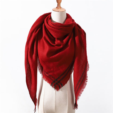 Designer Winter Triangle Scarf For Women luxury Brand plaid Shawl Cashmere Scarves warm neck Blanket lady bandana pashmina