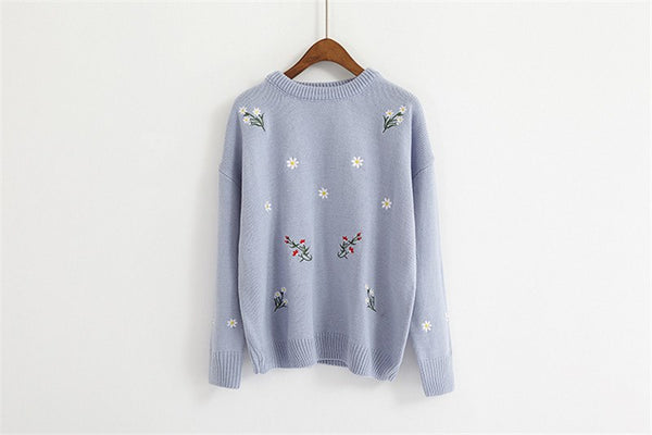Winter Knitted Sweaters Autumn Women Flower Embroidery O-Neck Loose Long Sleeve Pullover Sweater Tops Jumper Pull Femme