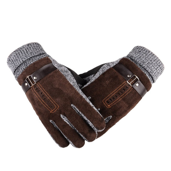 Mens Long Leather Glove Winter Wool Knitted Mitten Hand Warmer Handschoenen Warm Fleece Womens Fur Gloves Gants Femme