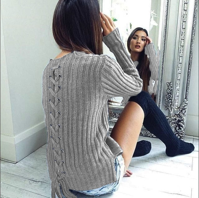 New Arrival Women Autumn Winter Shirt Back Bandage Solid Long Sleeve Causal Street Wear Lady Top