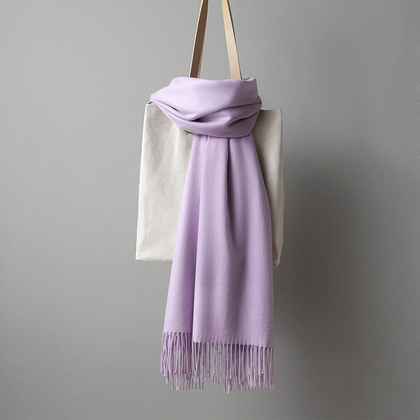 Women solid color cashmere scarves with tassel lady winter thick warm scarf high quality female shawl hot sale 250g