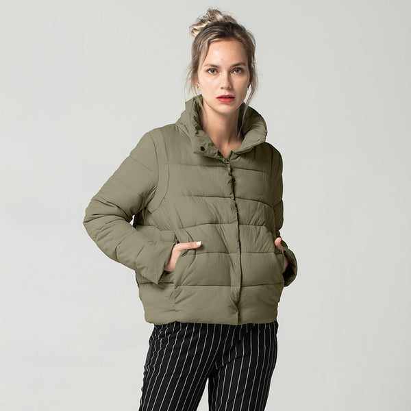 Causal Slim Thick Stand Collar Female Jacket Coat Warm Winter Jacket Women Down Parkas Cotton Padded Jacket FICUSRONG 2018 New