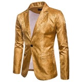 Stylish Men's Casual Slim Fit Formal One Button Suit Blazer Coat Jacket Tops Gold Red Purple Navy Blue M-3XL