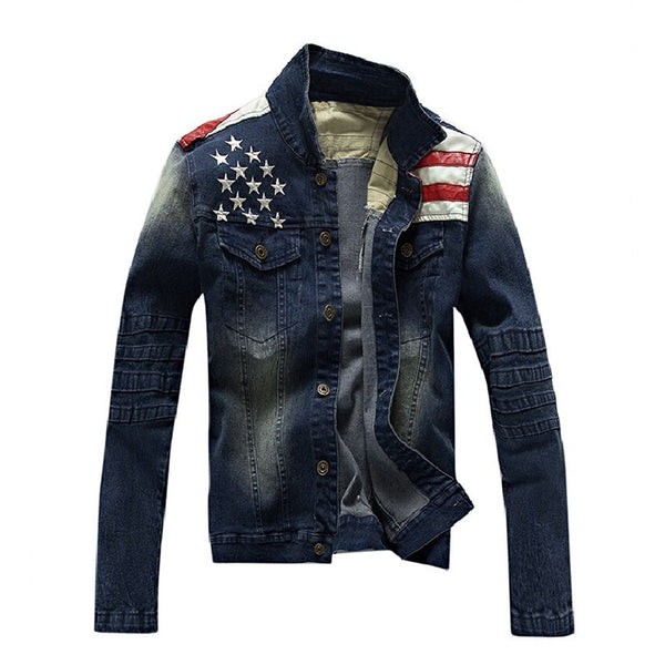 New USA Design Mens Jeans Jackets American Army Style Man's Jeans Clothing Denim Jacket for Men Plus size Asia