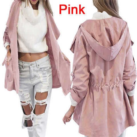 Fashion Women Jacket Coat Long Sleeve Hooded Coat Ladies Casual Elastic Waist Pocket Kimono Female Loose Outwear
