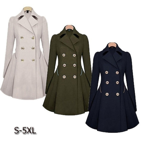 Trench coat women Autumn Women's Double breasted Warm Windbreaker Causal Long ladies trench coat femme
