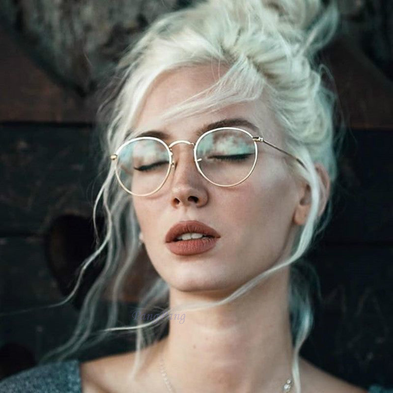 b7445b47009 Round Glasses Frame Woman Men Glasses Retro Myopia Optical Frames Metal Clear  lens Black Silver Gold ...