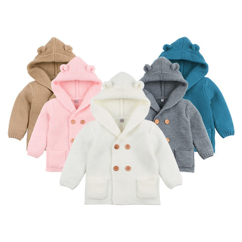 Baby Boy Knitting Cardigan Winter Warm Newborn Infant Sweaters Fashion Long Sleeve Hooded Coat Jacket Kids Clothing Outfits