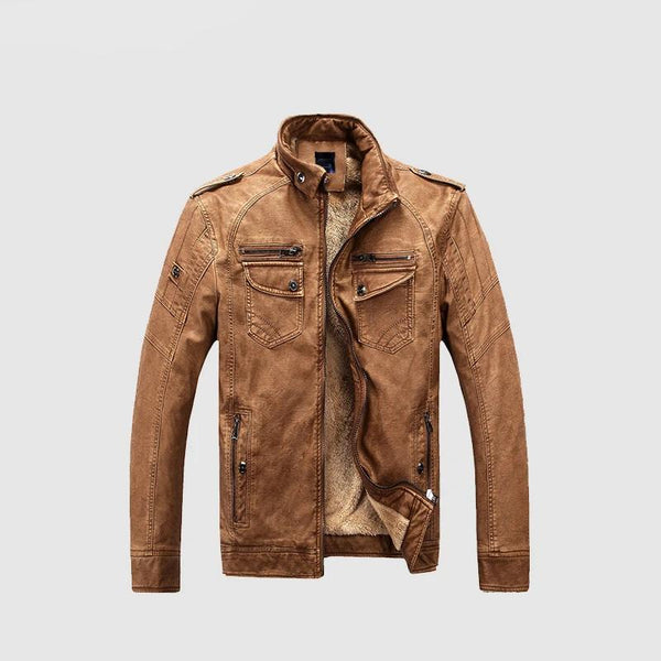Mens Wash Leather Jackets Winter Men Faux Fleece Plus Thick Warm Coat Biker Motorcycle Male Classic Jacket Top Quality