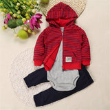 Autumn Winter Baby Infant Boy Clothing Sets Hooded Striped Coat+Pants+Romper 3pcs Suits Clothes For Baby Boy High Quality