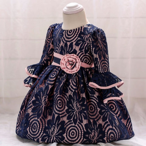 Brand Baby Dress for Infant 3 6 9 12 18 24 Months Flower Embroidered Princess Lace Dress 1 Year Birthday Toddler Dresses 6C24
