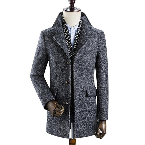 Winter Men's fashion thicken trench coat muffler Detachable jacket Men's casual windbreaker 50% woolen coats men overcoat