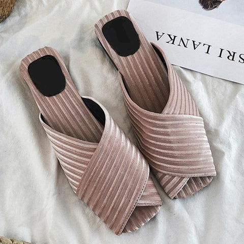 women sandals middle heels mules  platform shoes casual summer shoes party peep toe slip-on shoes soft slippers women pink 2018
