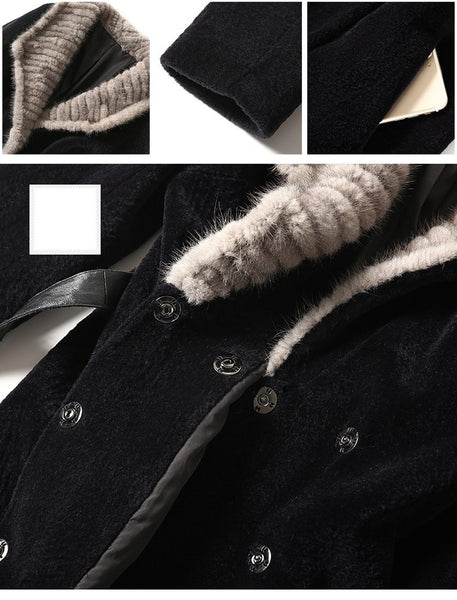 Sheep Shearing Coat Women Real Fur Clothes Mink Fur Collar Winter Long Coat Lapel Slim Lamb Fur Coat Vintage Coat Women ZT222