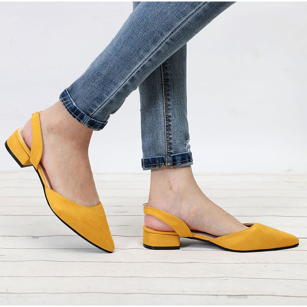 Women Shoes Slingback Summer Sandals For Female Flock Casual Footwear Pointed Toe Elegant Low Heels Party Wedding Shoe