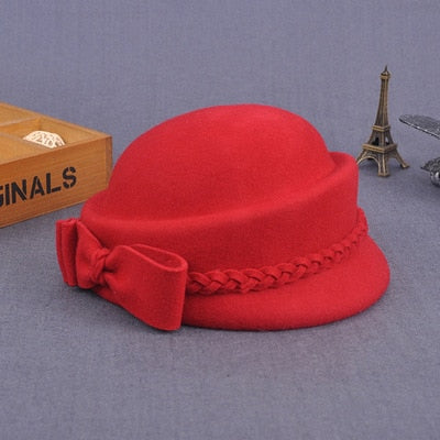 Elegant Winter 100% Australian Wool Felt Fedora Red Black Wedding Hats Women Female Bow Berets Caps Pillbox Hat Chapeau