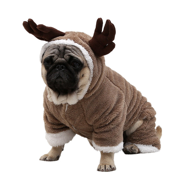 Winter Warm Dog Clothes Christmas Elk Costume For Small Medium Dogs Cat Suit Pet Jumpsuit Coat Chihuahua French Bulldog Outfit