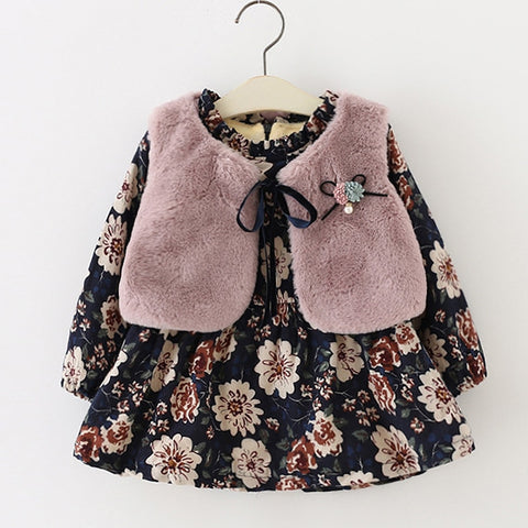 Fall Winter Wear Brand New Baby Girls Clothes Long-sleeved Floral Plus Velvet Dress+Fur Vest 2Pcs Suit Girls Clothes Sets