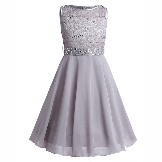 eeafdc0543d JOHNKART.COM.  27.22 USD. Girls Sequined Floral Lace Chiffon Dress Princess  Formal Bridesmaid Wedding Birthday Party ...